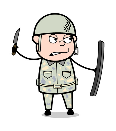 Ready to Fight - Cute Army Man Cartoon Soldier Vector Illustration Stock Vector - 121688335