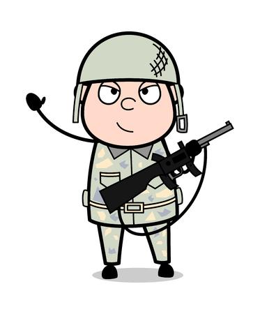 Waving Hand and Holding a Gun - Cute Army Man Cartoon Soldier Vector Illustration
