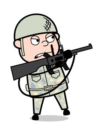 Border War - Cute Army Man Cartoon Soldier Vector Illustration Çizim
