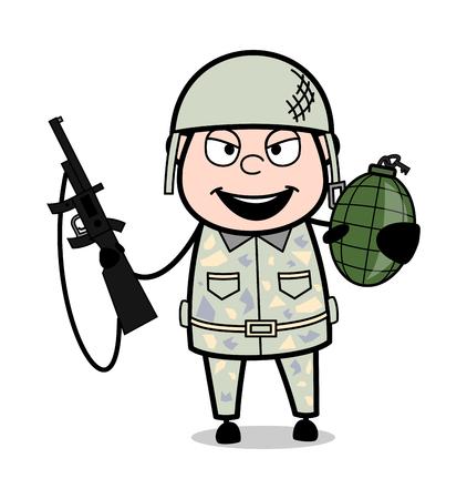 Holding Gun and Grenade - Cute Army Man Cartoon Soldier Vector Illustration