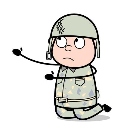 Begging - Cute Army Man Cartoon Soldier Vector Illustration