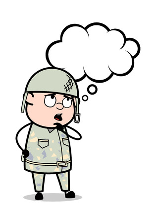 Dreaming - Cute Army Man Cartoon Soldier Vector Illustration