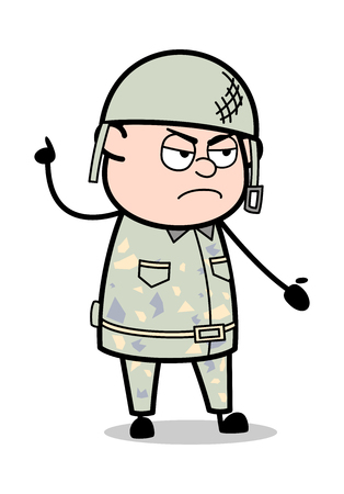 Angry Discussion - Cute Army Man Cartoon Soldier Vector Illustration