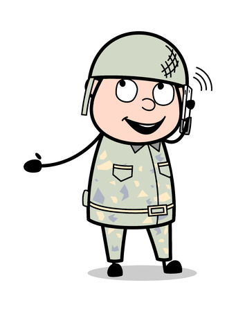 Speaking with Friends on Call - Cute Army Man Cartoon Soldier Vector Illustration