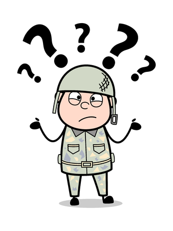 Confused - Cute Army Man Cartoon Soldier Vector Illustration