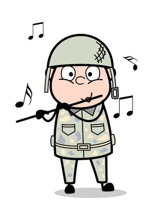 Playing Flute - Cute Army Man Cartoon Soldier Vector Illustration