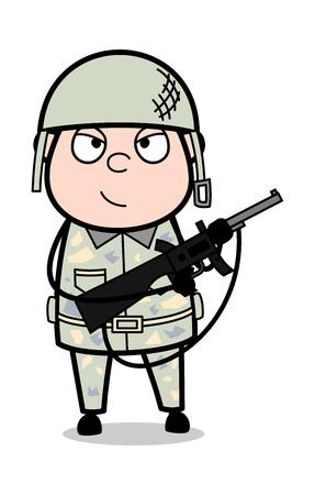 Terrorism - Cute Army Man Cartoon Soldier Vector Illustration