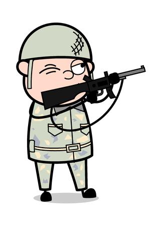 Shooting with Gun - Cute Army Man Cartoon Soldier Vector Illustration Çizim