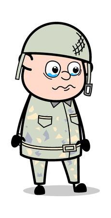 Very Emotional - Cute Army Man Cartoon Soldier Vector Illustration