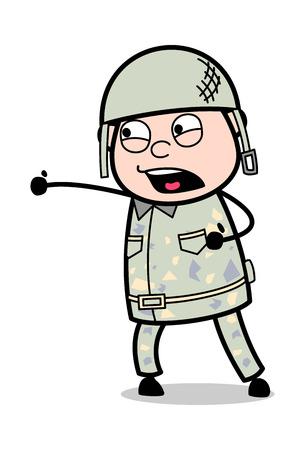 Punching - Cute Army Man Cartoon Soldier Vector Illustration Çizim