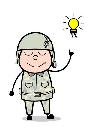 Got an Idea - Cute Army Man Cartoon Soldier Vector Illustration