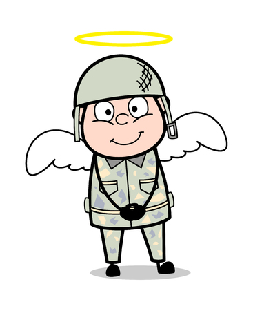 Angel Costume - Cute Army Man Cartoon Soldier Vector Illustration