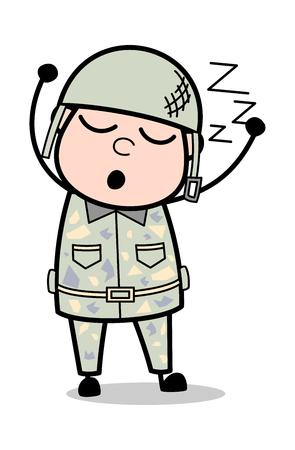 Sleeping - Cute Army Man Cartoon Soldier Vector Illustration