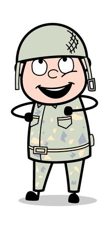 Dancing Style - Cute Army Man Cartoon Soldier Vector Illustration