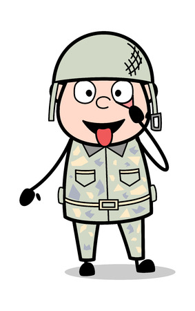 Teasing Funny Expression - Cute Army Man Cartoon Soldier Vector Illustration