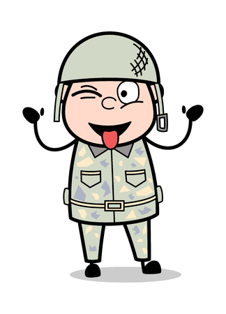 Teasing Face - Cute Army Man Cartoon Soldier Vector Illustration