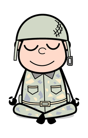 Yoga Pose - Cute Army Man Cartoon Soldier Vector Illustration