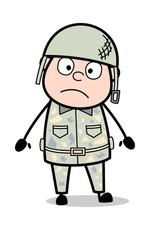 Shocked Expression - Cute Army Man Cartoon Soldier Vector Illustration