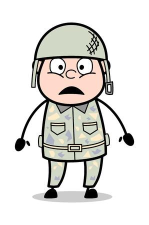 Wondering - Cute Army Man Cartoon Soldier Vector Illustration Standard-Bild - 121688625