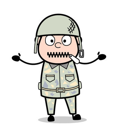 Zipper Mouth - Cute Army Man Cartoon Soldier Vector Illustration