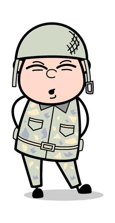 Body Pain - Cute Army Man Cartoon Soldier Vector Illustration Illustration