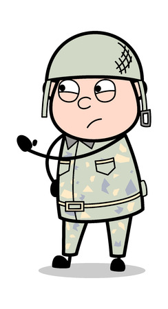 Alerting with Gesture - Cute Army Man Cartoon Soldier Vector Illustration