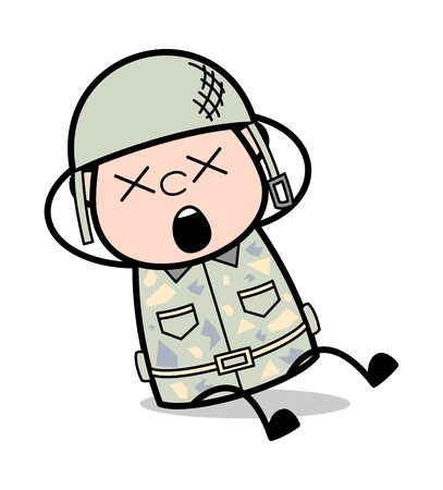 Groaning with Pain - Cute Army Man Cartoon Soldier Vector Illustration