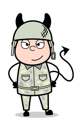 Devil Smile - Cute Army Man Cartoon Soldier Vector Illustration