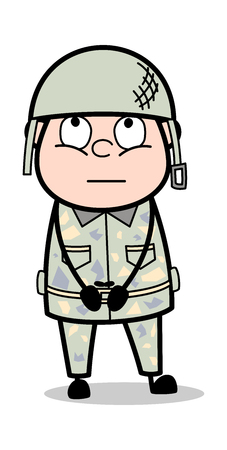 Thinking - Cute Army Man Cartoon Soldier Vector Illustration