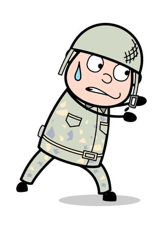 Doing Hard Work - Cute Army Man Cartoon Soldier Vector Illustration