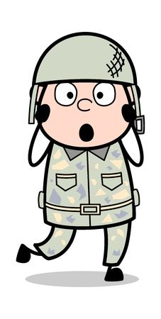 Scared - Cute Army Man Cartoon Soldier Vector Illustration