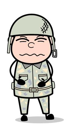 Stomach Problem - Cute Army Man Cartoon Soldier Vector Illustration Çizim