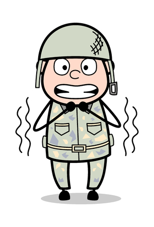 Shivering - Cute Army Man Cartoon Soldier Vector Illustration