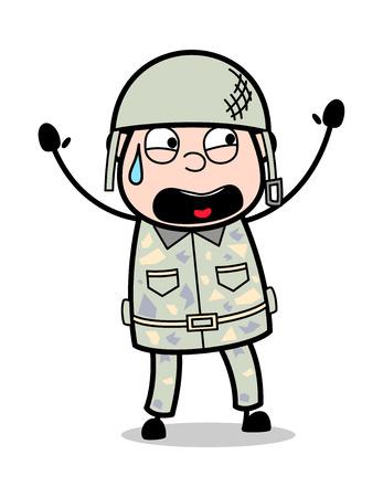 Screaming in Fear - Cute Army Man Cartoon Soldier Vector Illustration Standard-Bild - 121688715