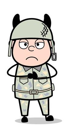 Devil - Cute Army Man Cartoon Soldier Vector Illustration