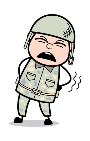 Backache - Cute Army Man Cartoon Soldier Vector Illustration
