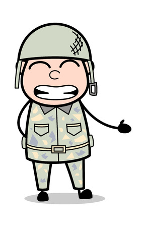Irritated - Cute Army Man Cartoon Soldier Vector Illustration