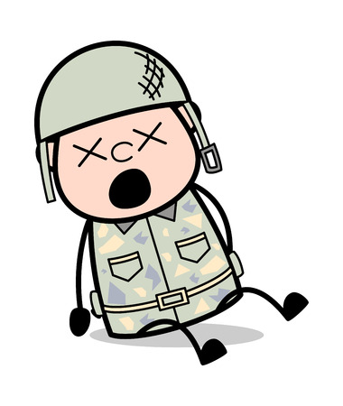 Groaning in Pain - Cute Army Man Cartoon Soldier Vector Illustration Illustration