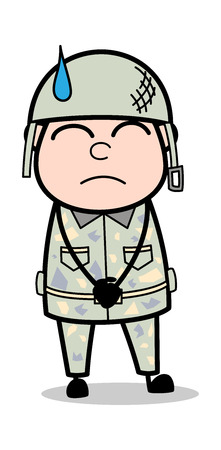 Schuldgefühle - niedliche Armee-Mann-Karikatur-Soldat-Vektor-Illustration Vektorgrafik