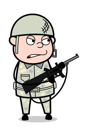 Verärgerter Offizier mit Gewehr - nette Armee-Mann-Karikatur-Soldat-Vektor-Illustration