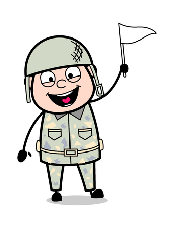 Holding a Flag and Smiling - Cute Army Man Cartoon Soldier Vector Illustration