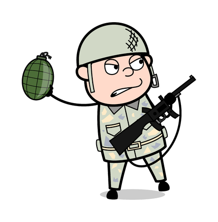 Soldier Throwing Bomb - Cute Army Man Cartoon Soldier Vector Illustration