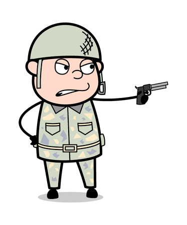 Shooting Gun Pose - Cute Army Man Cartoon Soldier Vector Illustration Çizim