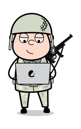 Online Working - Cute Army Man Cartoon Soldier Vector Illustration