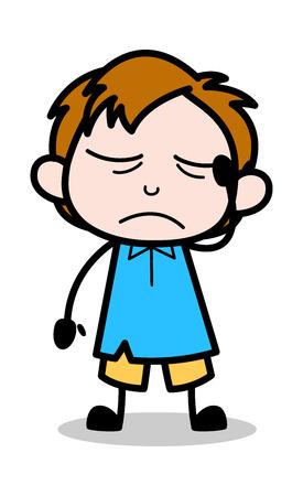 Headache - School Boy Cartoon Character Vector Illustration