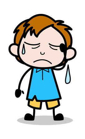 Unwell - School Boy Cartoon Character Vector Illustration