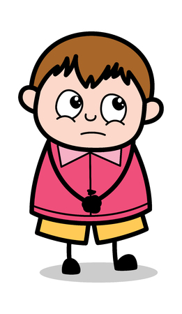 Feeling Guilt - Teenager Cartoon Fat Boy Vector Illustration