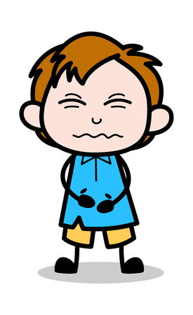 Bellyache - School Boy Cartoon Character Vector Illustration