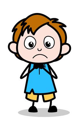 Worried - School Boy Cartoon Character Vector Illustration