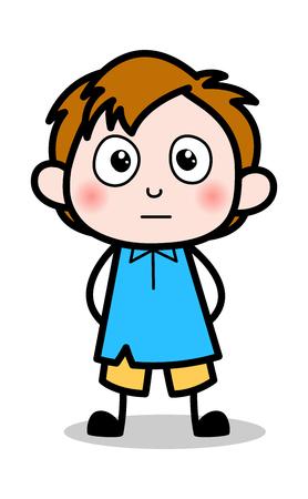 Blushing - School Boy Cartoon Character Vector Illustration
